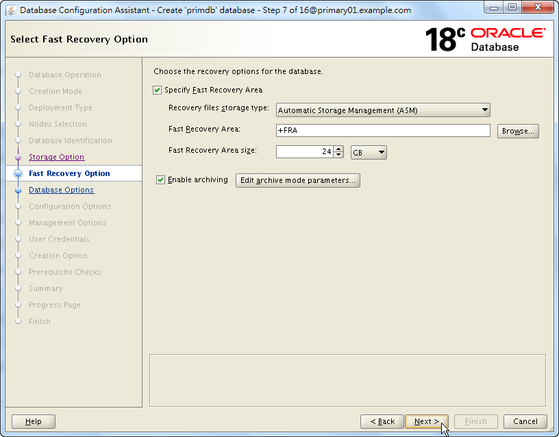 Oracle 18c DBCA - Create a RAC Database - Select Fast Recovery Option