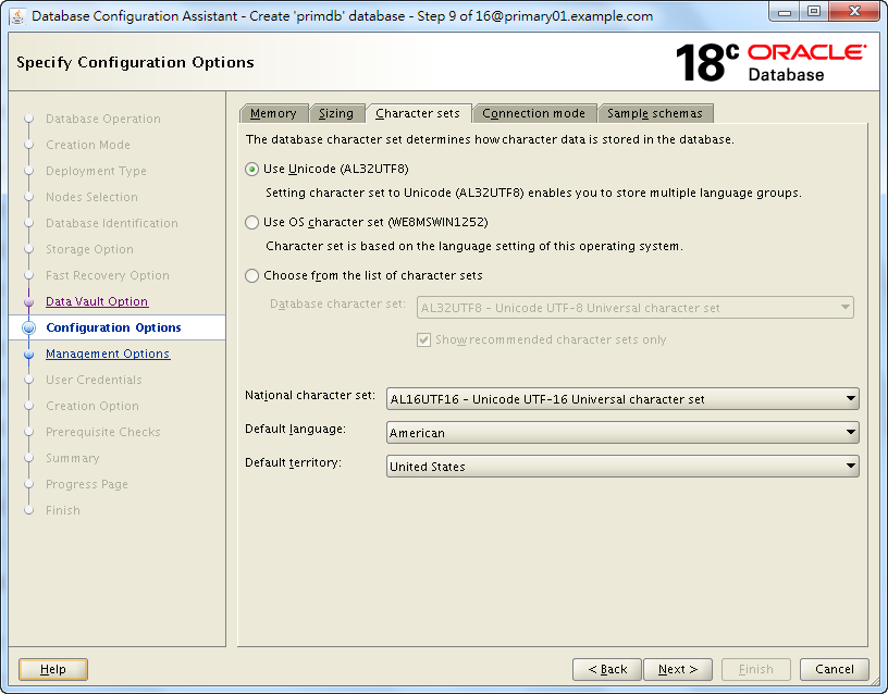 Oracle 18c DBCA - Create a RAC Database - Specify Configuration Options - Character Sets