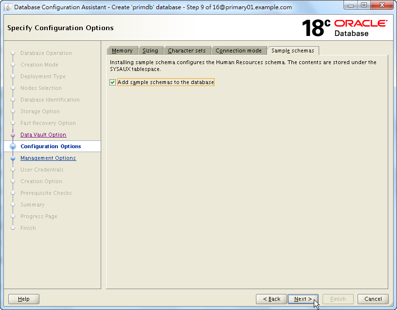Oracle 18c DBCA - Create a RAC Database - Specify Configuration Options - Sample Schemas