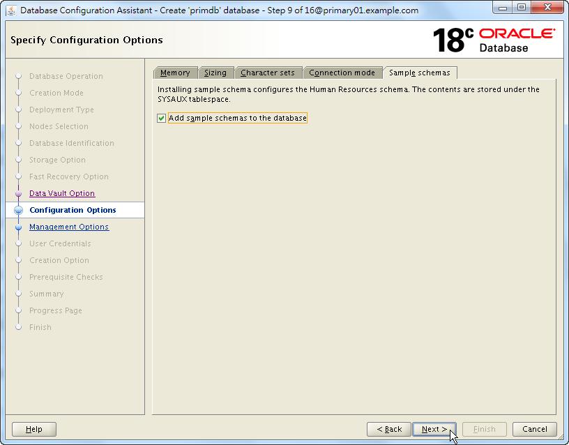Oracle 18c DBCA - Create a RAC Database - Specify Configuration Options - Sample Schemas