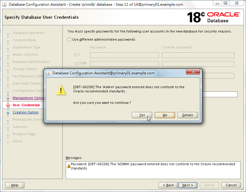 Oracle 18c DBCA - Create a RAC Database - Specify Database User Credentials - DBT-06208