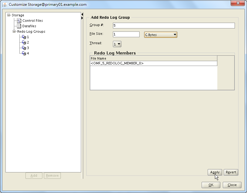 Oracle 18c DBCA - Create a RAC Database - Select Database Creation Option - Customize Storage Locations - Add Redo Log Group