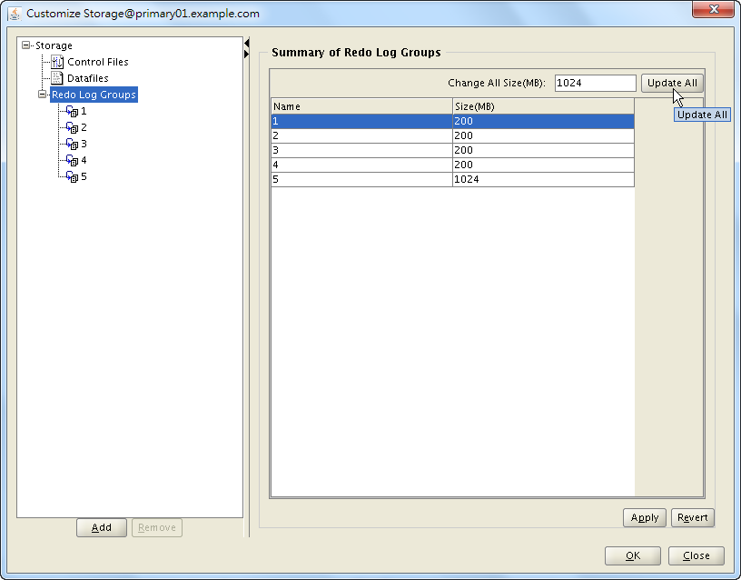 Oracle 18c DBCA - Create a RAC Database - Select Database Creation Option - Customize Storage Locations - Redo Log Groups - Change All Size to 1GB