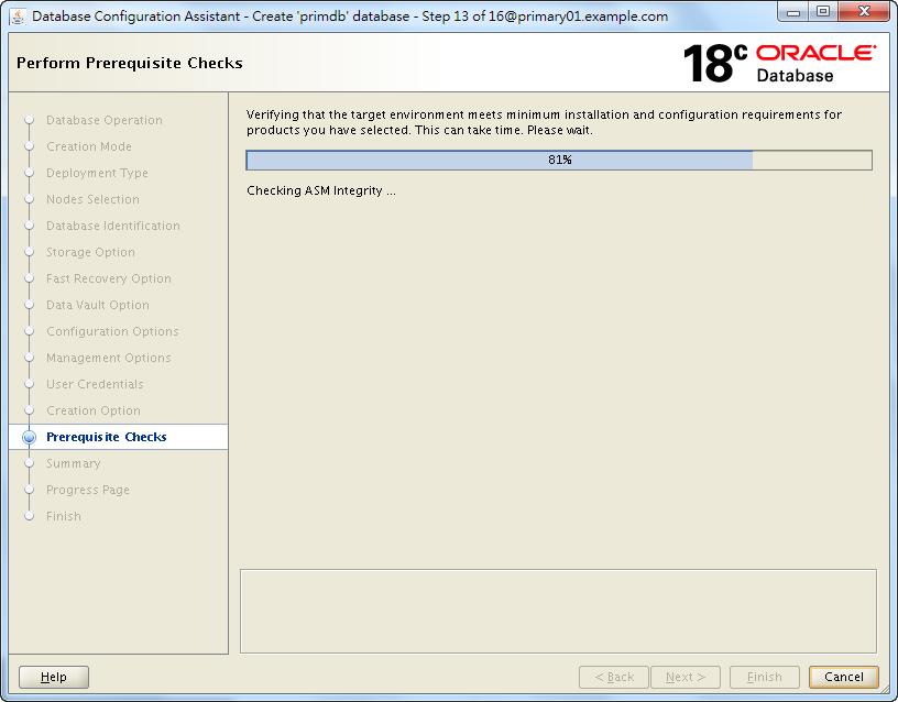 Oracle 18c DBCA - Create a RAC Database - Perform Prerequisite Checks
