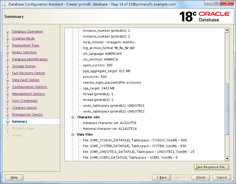 Oracle 18c DBCA - Create a RAC Database - Summary - 2 of 3