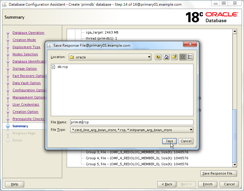 Oracle 18c DBCA - Create a RAC Database - Summary - Save Response File