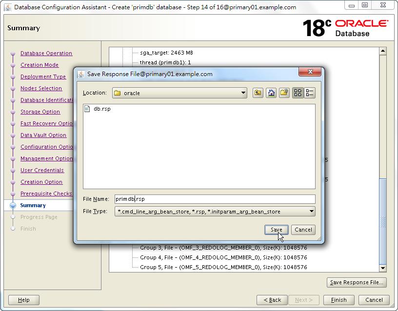 Oracle 18c DBCA - Create a RAC Database - Summary - Save Response File