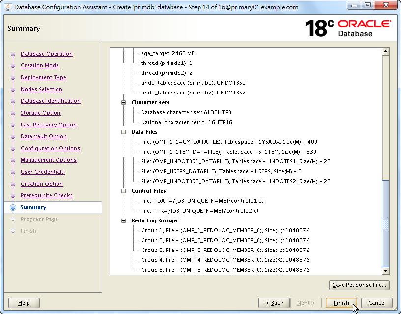 Oracle 18c DBCA - Create a RAC Database - Summary - Click Finish