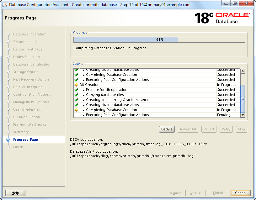 Oracle 18c DBCA - Create a RAC Database - Creation is Progressing