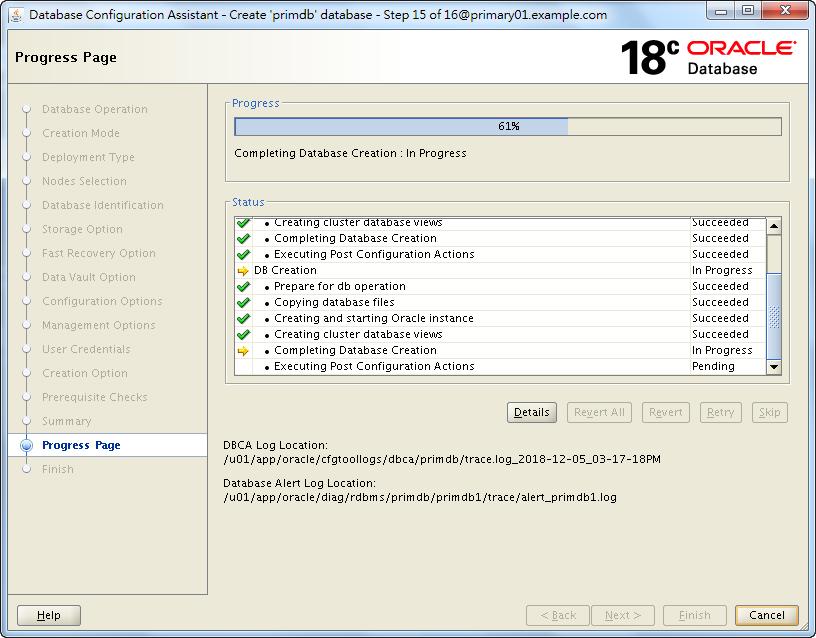 Oracle 18c DBCA - Create a RAC Database - Creation is Progressing