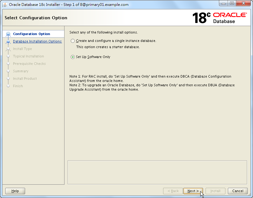 Oracle 18c RAC Software Installation - Select Configuration Option