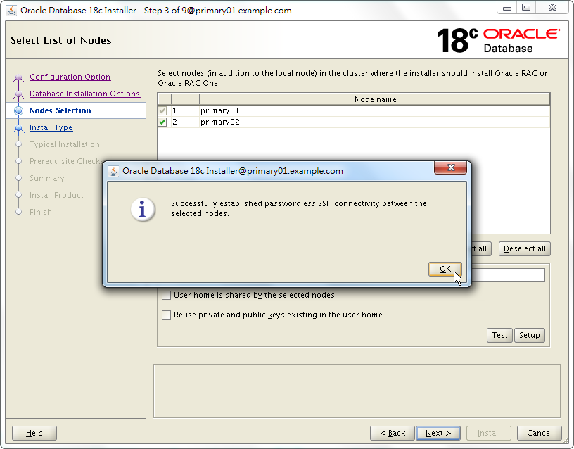 Oracle 18c RAC Software Installation - Select List of Nodes - SSH Connectivity Established