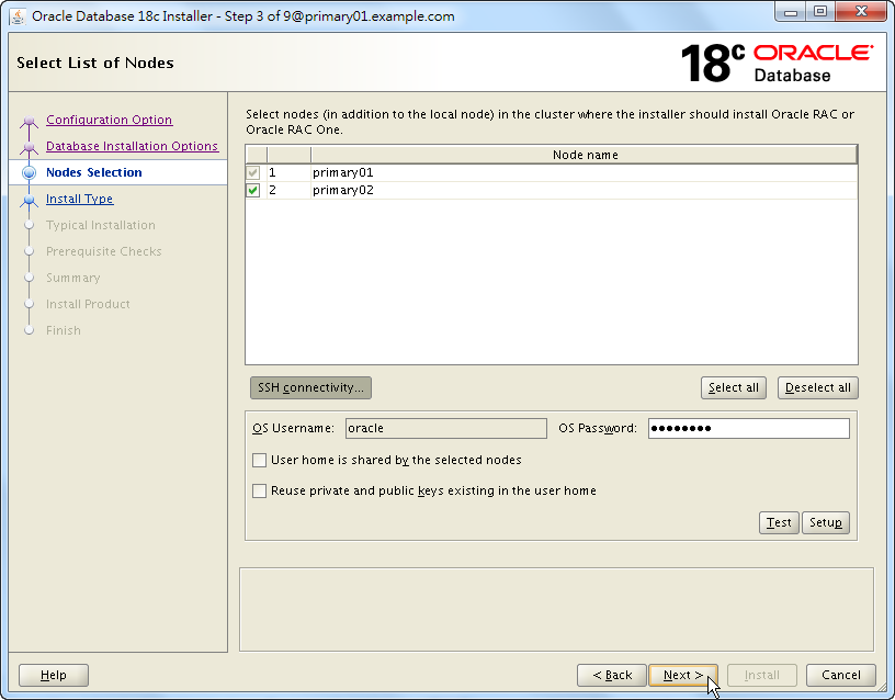Oracle 18c RAC Software Installation - Select List of Nodes - Click Next
