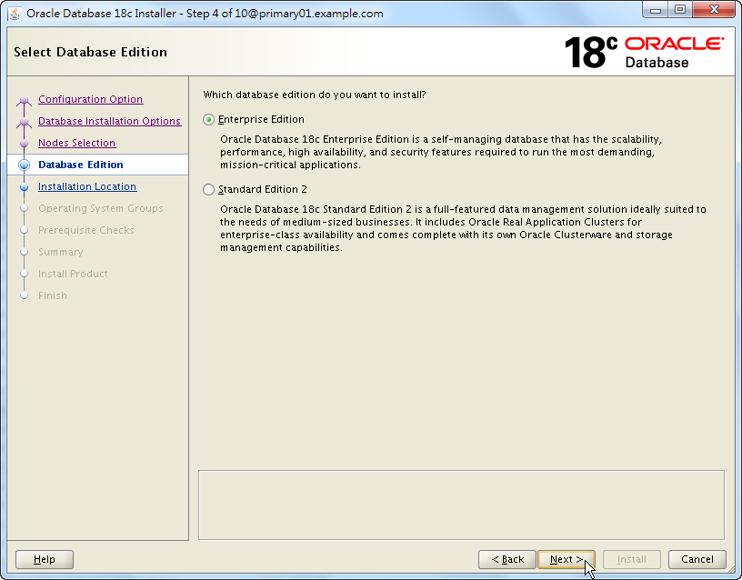Oracle 18c RAC Software Installation - Select Database Edition