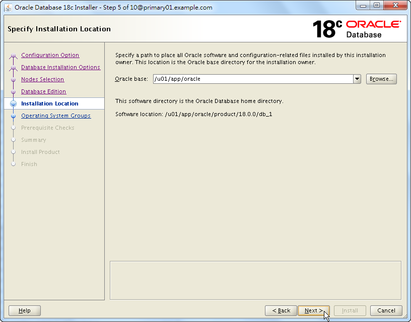 Oracle 18c RAC Software Installation - Select Installation Location