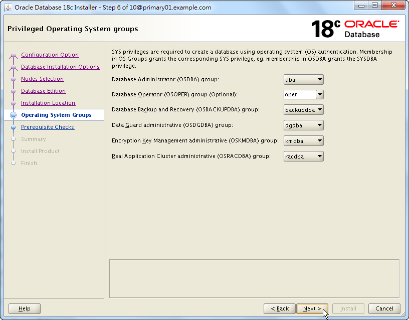 Oracle 18c RAC Software Installation - Privileged Operating System Groups