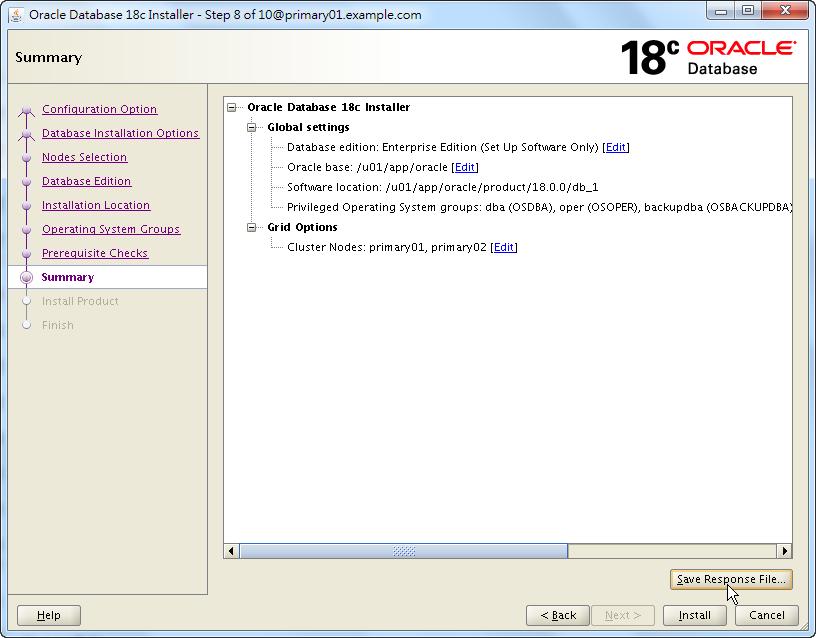 Oracle 18c RAC Software Installation - Summary