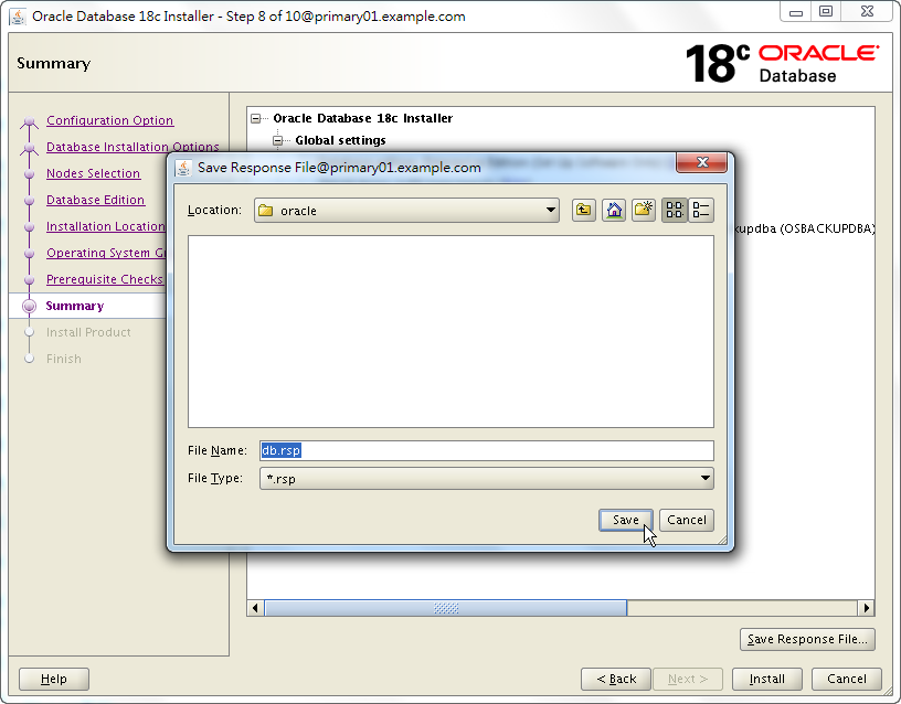 Oracle 18c RAC Software Installation - Summary - Save Response File