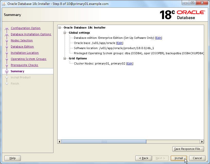 Oracle 18c RAC Software Installation - Summary - Click Install