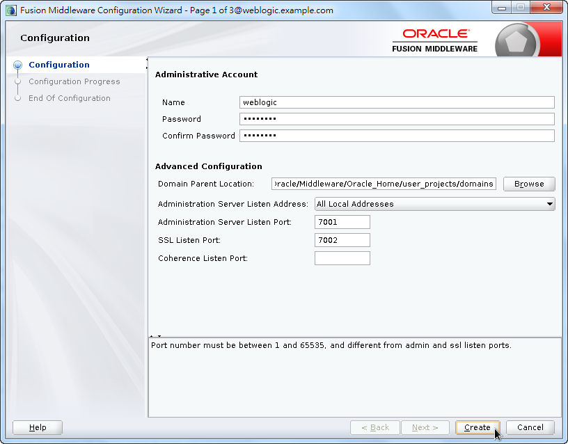 Oracle Fusion Middleware Configuration Wizard - Configure Administrative Account and Advanced Configuration
