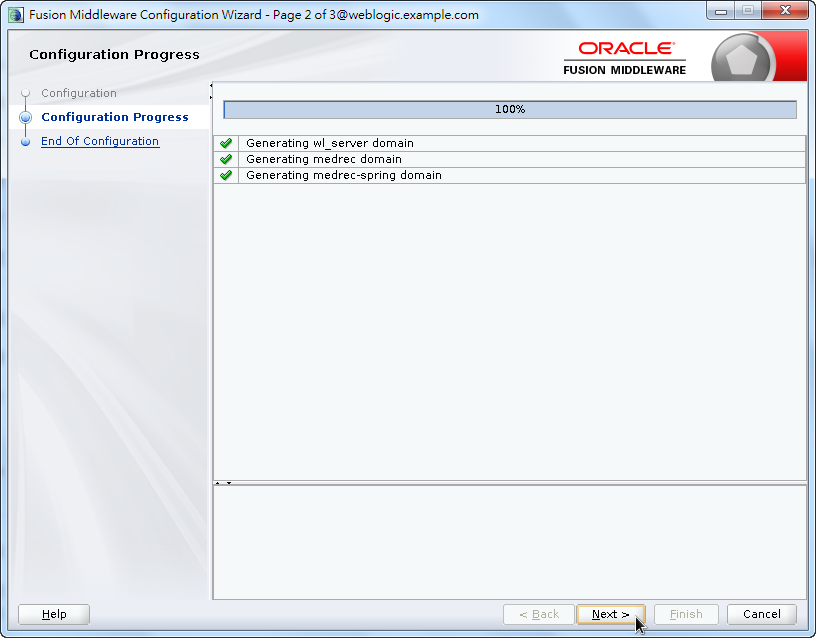 Oracle Fusion Middleware Configuration Wizard - Configuring