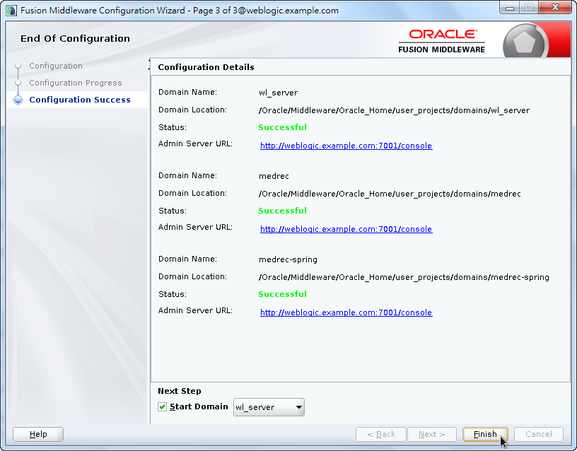 Oracle Fusion Middleware Configuration Wizard - End of Configuration and Details