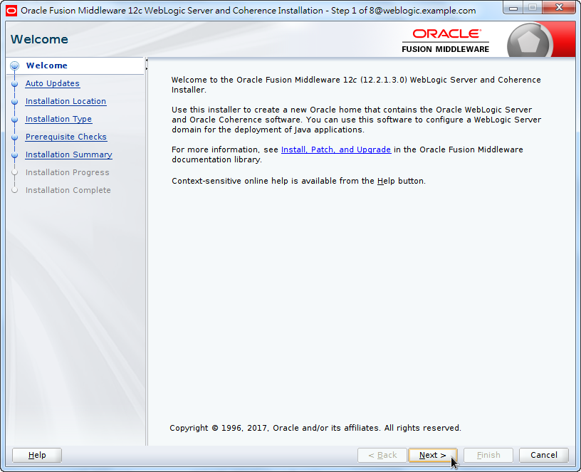 Oracle Fusion Middleware 12c WebLogic Installation - Welcome