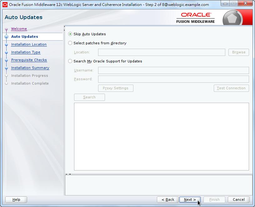 Oracle Fusion Middleware 12c WebLogic Installation - Skip Auto Updates