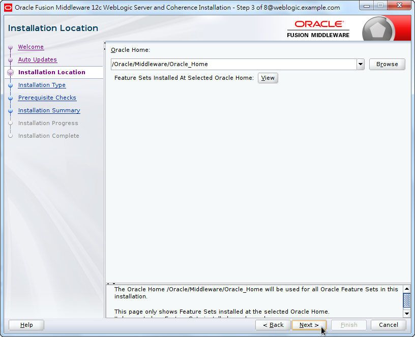 Oracle Fusion Middleware 12c WebLogic Installation - Determine the Location of Oracle Home