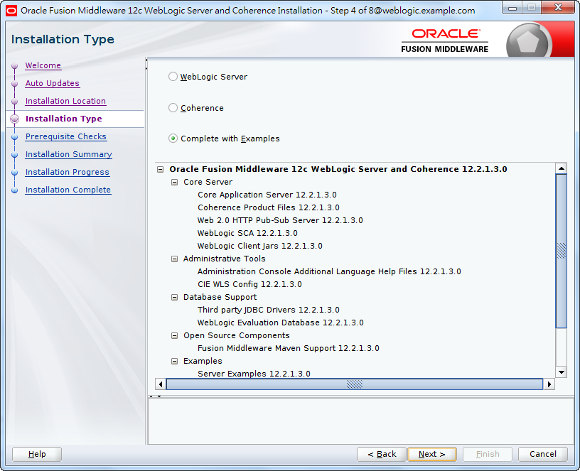 Oracle Fusion Middleware 12c WebLogic Installation - Installation Type -Complete with Examples 1/2