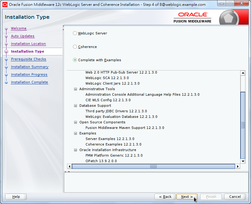 Oracle Fusion Middleware 12c WebLogic Installation - Installation Type -Complete with Examples 2/2
