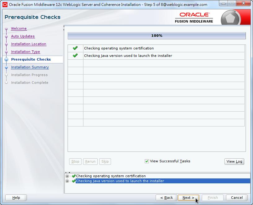 Oracle Fusion Middleware 12c WebLogic Installation - Prerequisite Checks