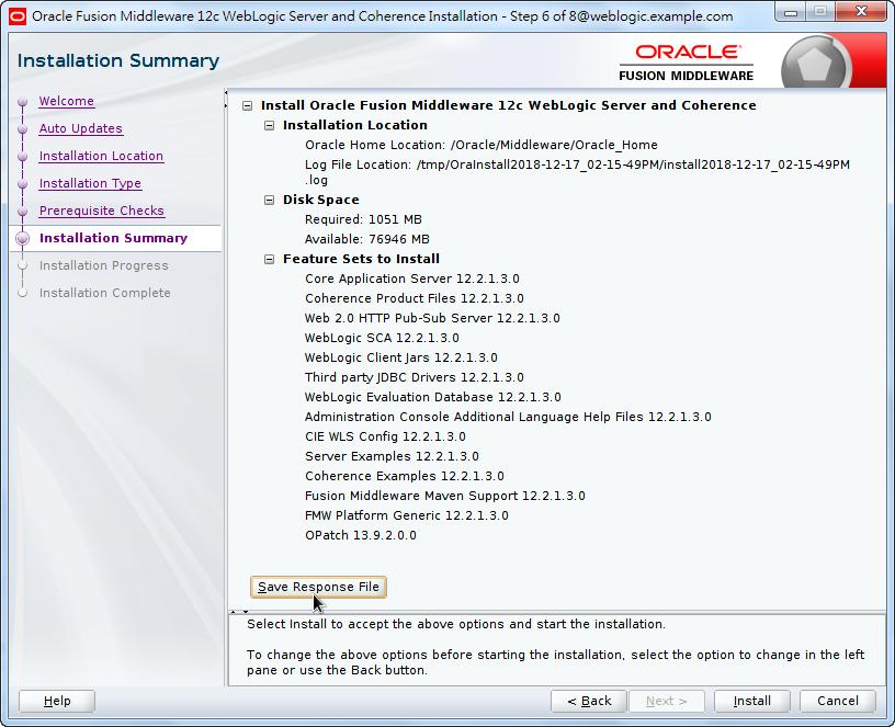 Oracle Fusion Middleware 12c WebLogic Installation - Installation Summary