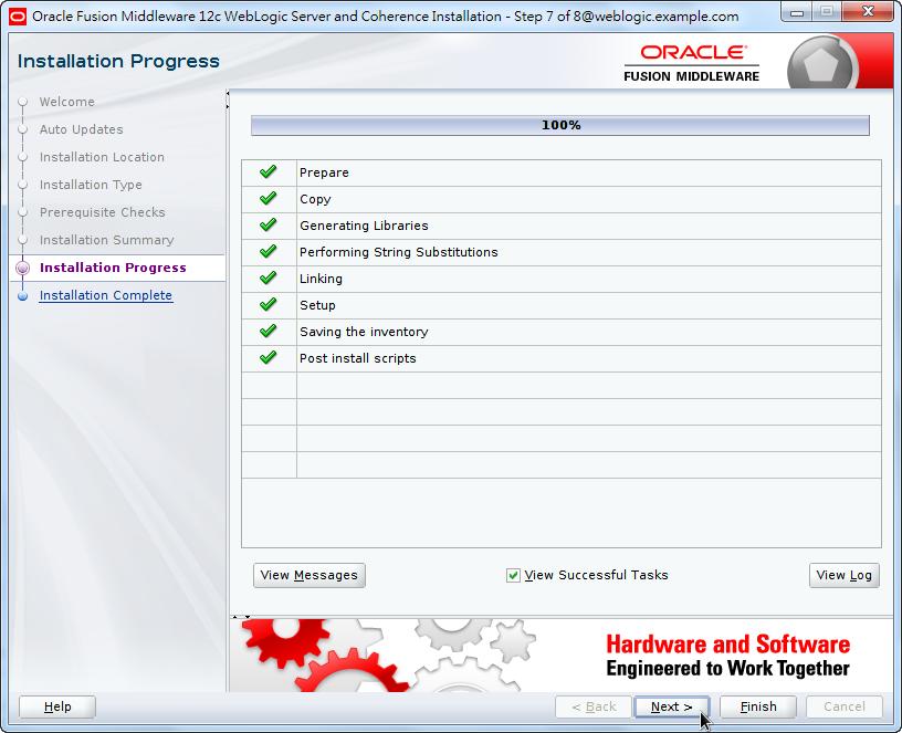 Oracle Fusion Middleware 12c WebLogic Installation - Installing Product