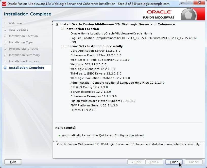 Oracle Fusion Middleware 12c WebLogic Installation - Installation Coomplete