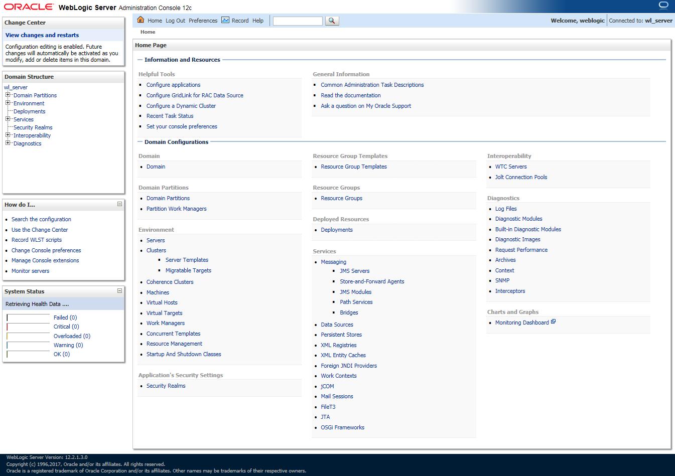 Oracle WebLogic Server Administration Console 12c - Dashboard