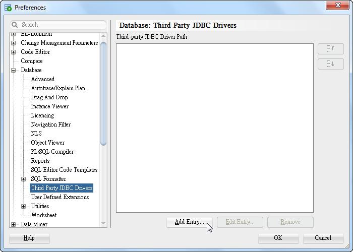 SQL Developer - Preference - Database - Third Party JDBC