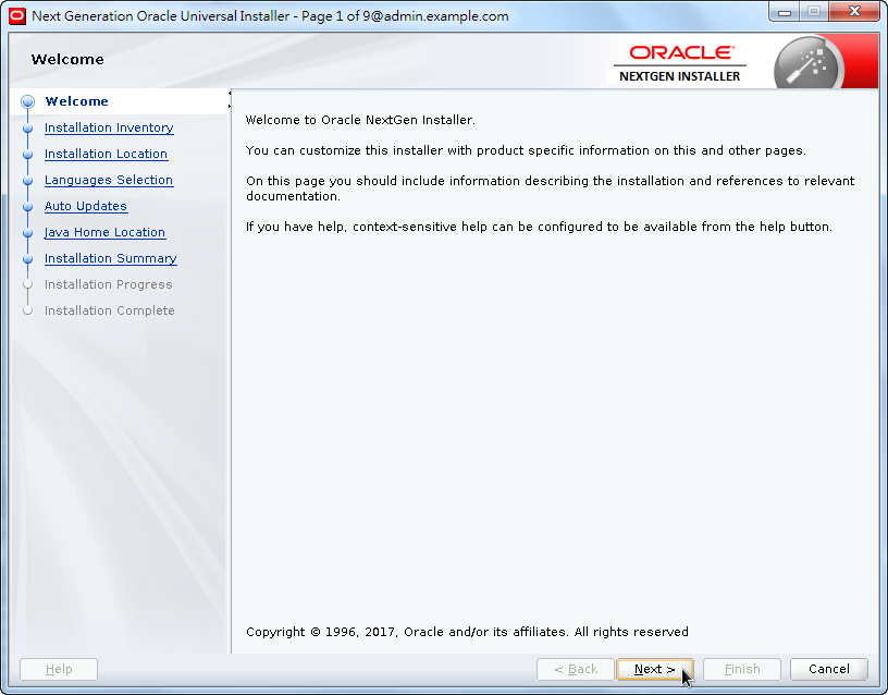 Weblogic New OPatch Installation - Welcome