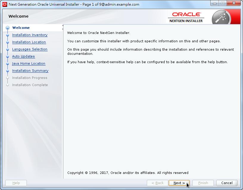 Weblogic New OPatch Installation - Welcome