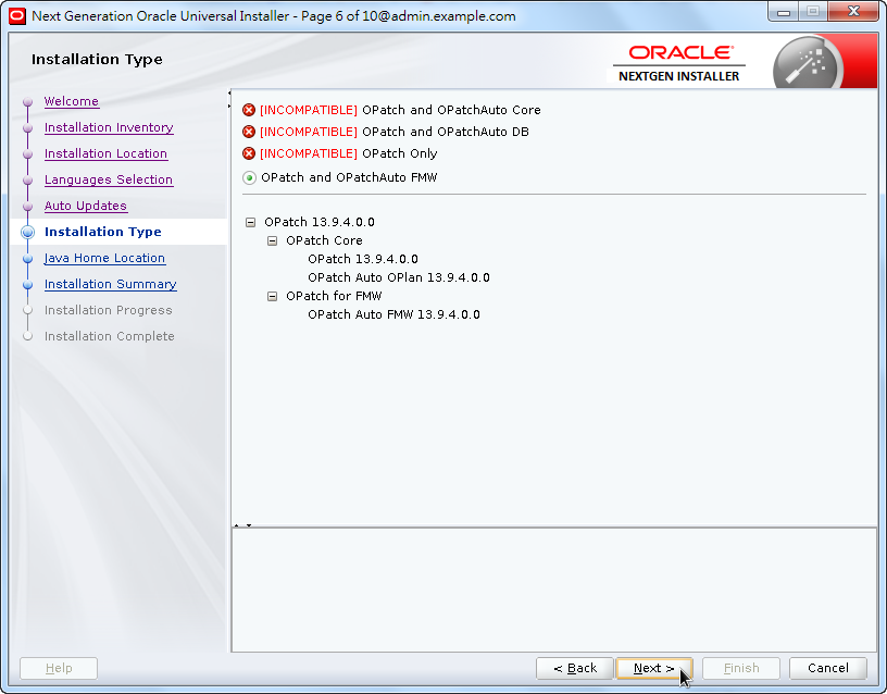Weblogic New OPatch Installation - Installation Type