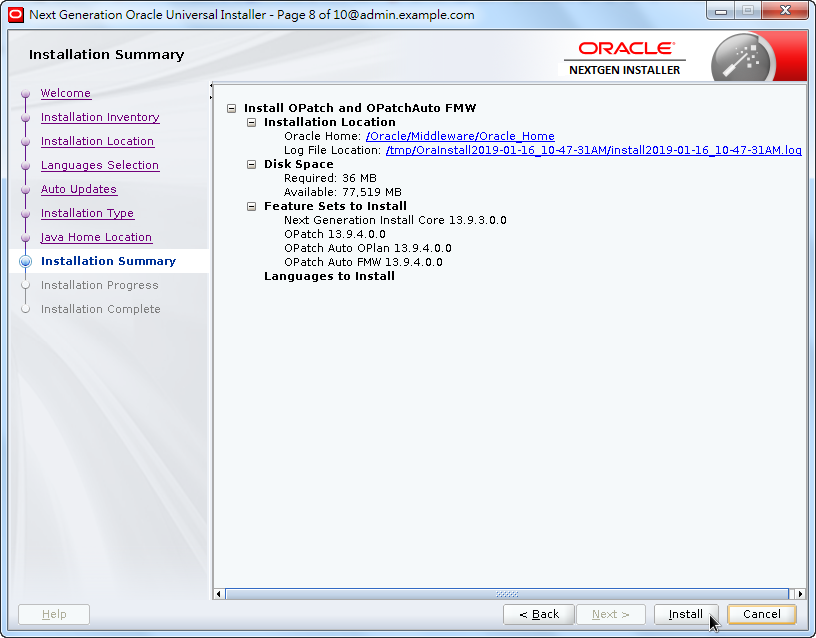 Weblogic New OPatch Installation - Installation Summary