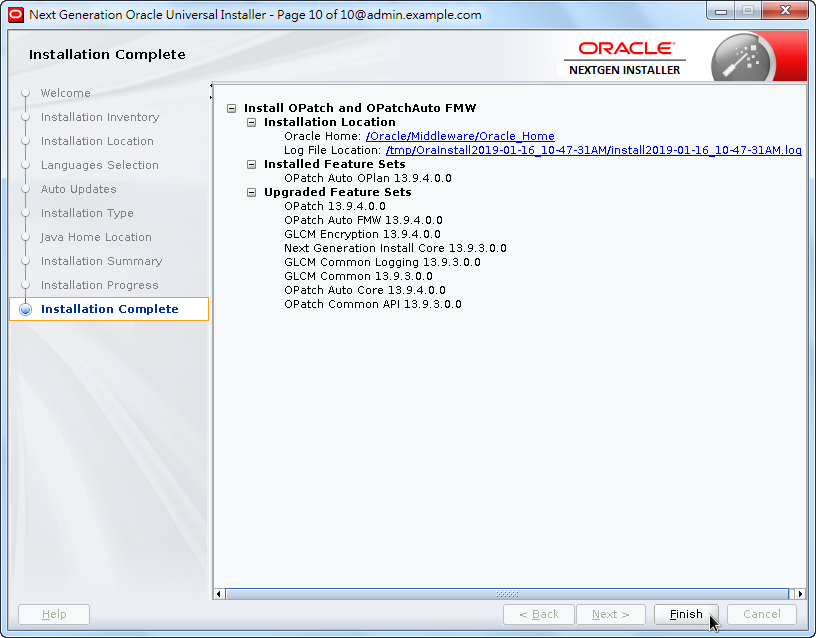 Weblogic New OPatch Installation - Installation Complete