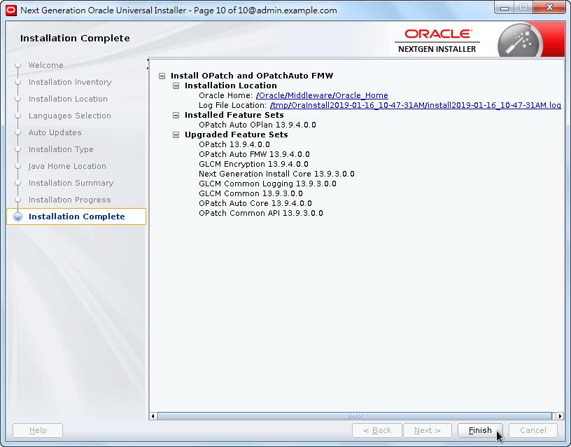 Weblogic New OPatch Installation - Installation Complete