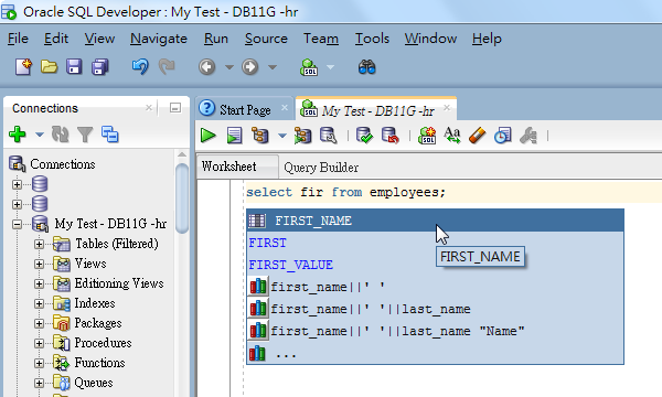 Autocomplete Column Names in SQL Developer Editor so as to Avoid ORA-00904 invalid identifier