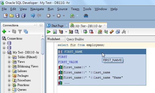 Autocomplete Column Names in SQL Developer Editor so as to Avoid ORA-00904 invalid identifier
