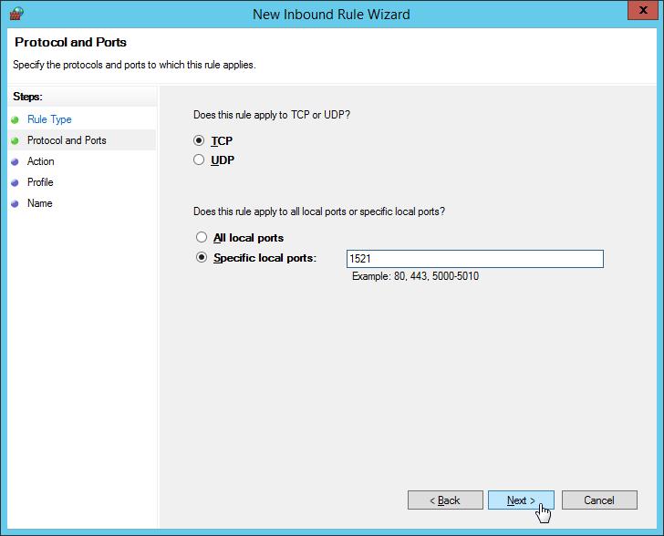 "Windows Firewall - New Inbound Rule Wizard - Input Port Number ""1521"""