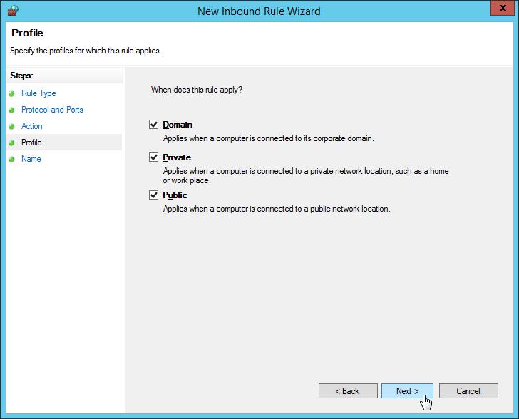 Windows Firewall - New Inbound Rule Wizard - Profile