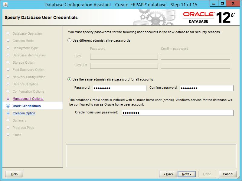 Oracle DBCA 12.2 - Step 11