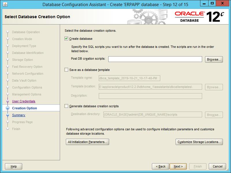 Oracle DBCA 12.2 - Step 12