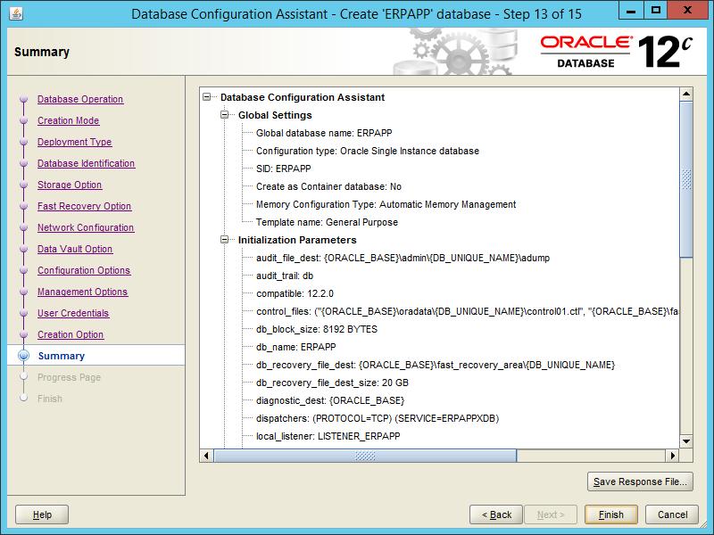 Oracle DBCA 12.2 - Step 13